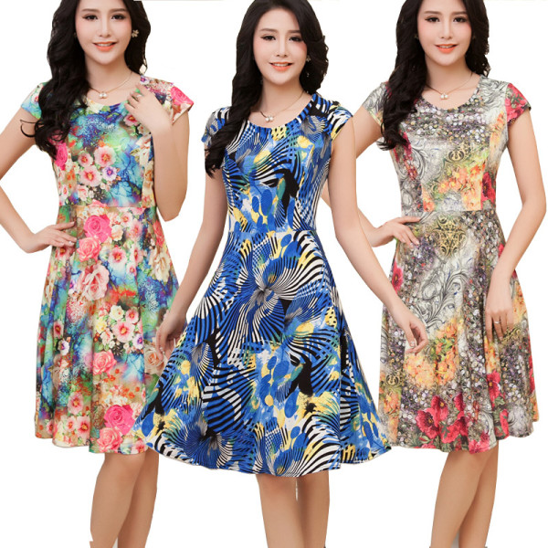 Women-Dress-2015-Summer-Dress-5XL-Plus-Size-Dresses-Desigual-Floral-Print-Dresses-Fit-and-Flare-600x600