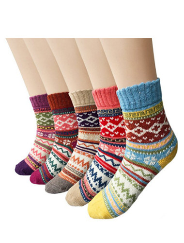 5 Pairs Vintage Style Winter Knitting Warm Wool Crew Socks
