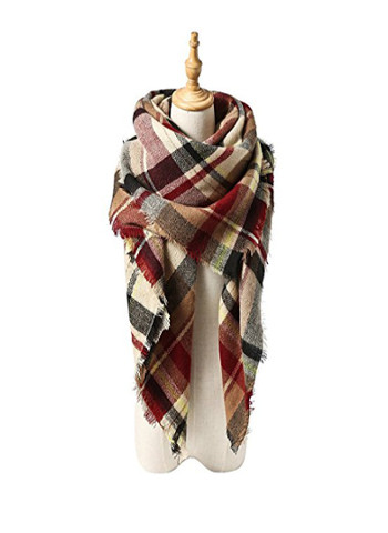 Winter Tassel Plaid Scarf Warm Soft Blanket