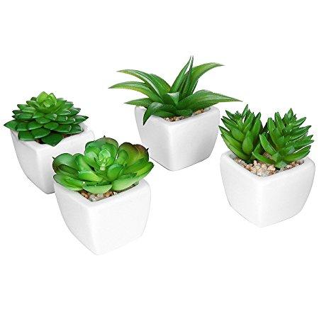 Set of 4 Modern White Ceramic Mini Potted Artificial Succulent Plants