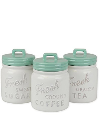 Mason Jar Inspired Ceramic Kitchen Canister With Airtight Lid For Food Storage