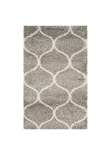 Hudson Shag Collection SGH280B Grey and Ivory Moroccan Ogee Plush Area Rug