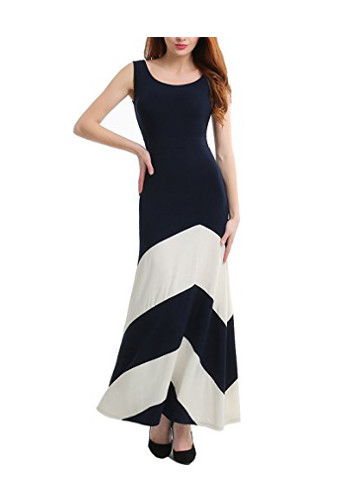 Women's Abstract Colorblock Maxi Dress