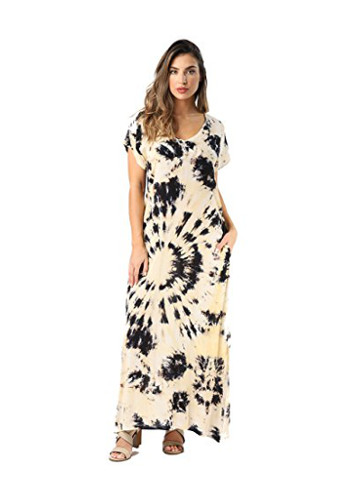 Riviera Sun Casual Short Sleeve Maxi Dress With Side Slit