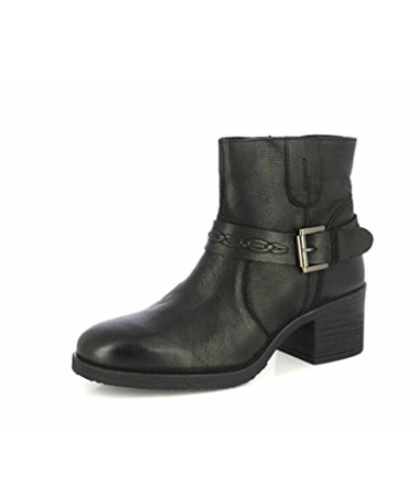 Leather Boots Buckle Straps Stacked Low Heel Bootsies