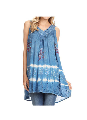 Sequin Embroidered Batik Relaxed Fit Sleeveless V-Neck Top