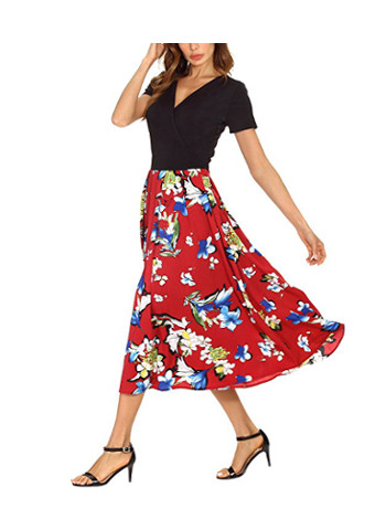 Urban CoCo Vintage Contrast Dress Wrap Floral Party Dress