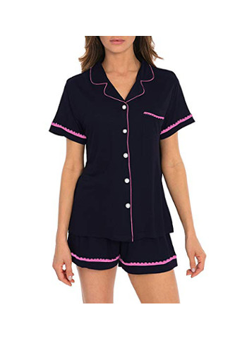 Summer Short Sleeve 2 Pieces Shorts Pajama Set