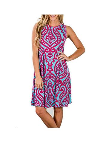 Summer Sleeveless Bohemian Print Tunic T-Shirt Dress