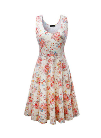 Fit and Flare Floral Sleeveless Cocktail Dress