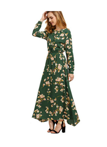 Long Sleeve Floral Print Button Casual Maxi Dress