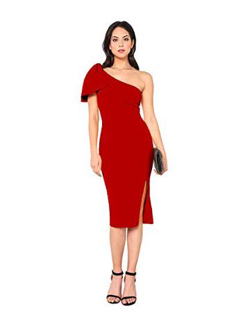 One Shoulder Cocktail Bodycon Midi Dress