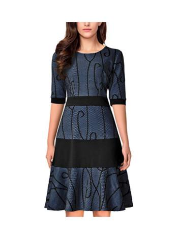 Half Sleeve Knee Length Dress for Women Cocktail Tea Party