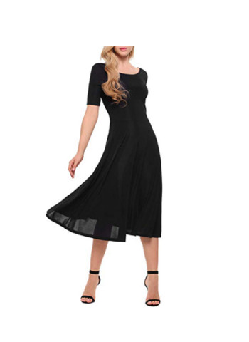 Scoop Neck Short Sleeve Ribbed Knit Casual Midi Dress